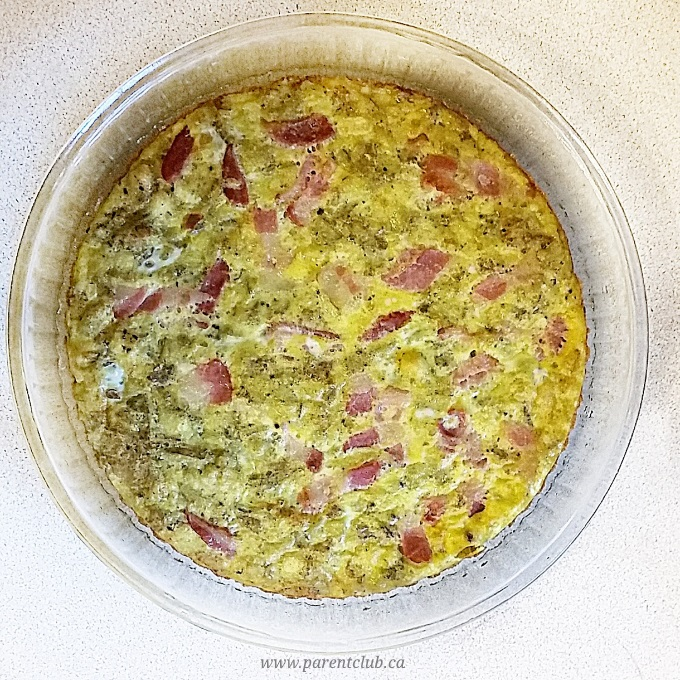 Broccoli Bacon Potato Quiche recipe via www.parentclub.ca