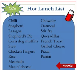 Easy Hot Lunch List via www.parentclub.ca