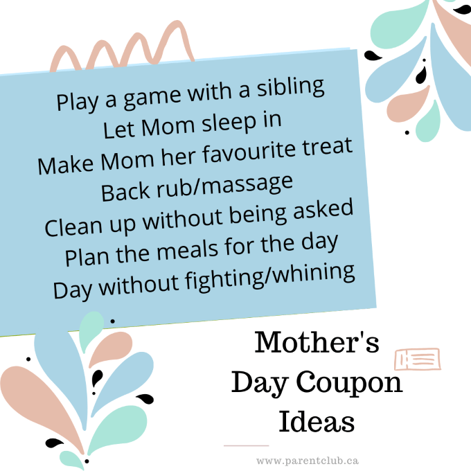 Mother's Day Coupons via www.parentclub.ca, homemade Mother's Day gift ideas