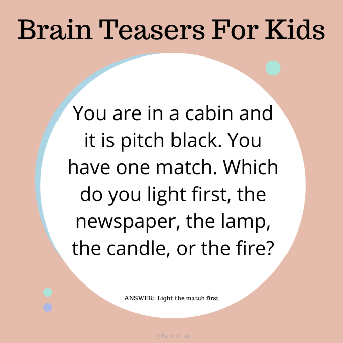 brain teaser for kids, classroom ideas, kids activities, birthday party games, birthday party activities, boredom busters, kids games, family fun via www.parentclub.ca
