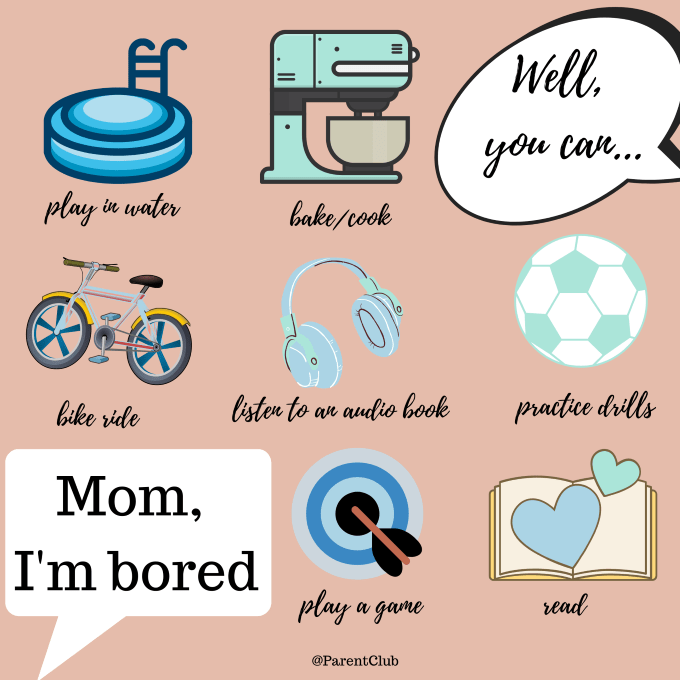 How to deal with Mom, I'm Bored via www.parentclub.ca, kids activities, family fun, boredom busters for kids