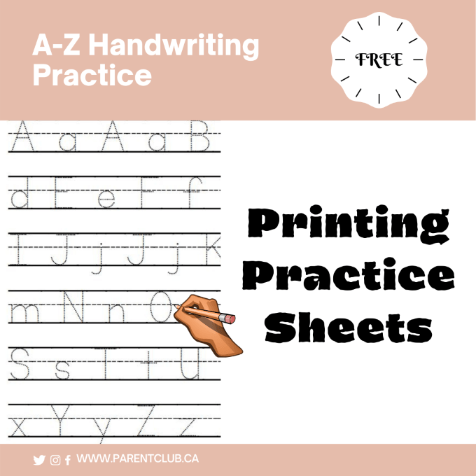 Free Printing Practice Sheets via www.parentclub.ca, a-z handwriting practice, work sheets, handwriting