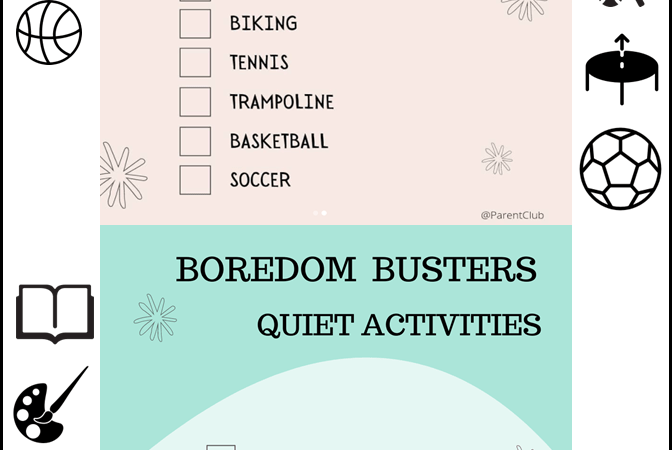 Active and Quiet Boredom Buster Activities for Kids via www.parentclub.ca, activities for kids, kids activities