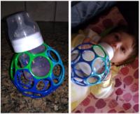 DIY bottle holder lets babies feed themselves