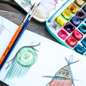 sketching aquarelle tissage