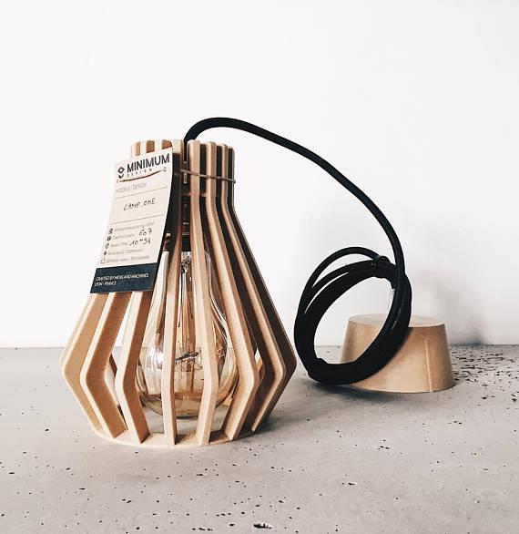 lampe abat jour minimaliste bois