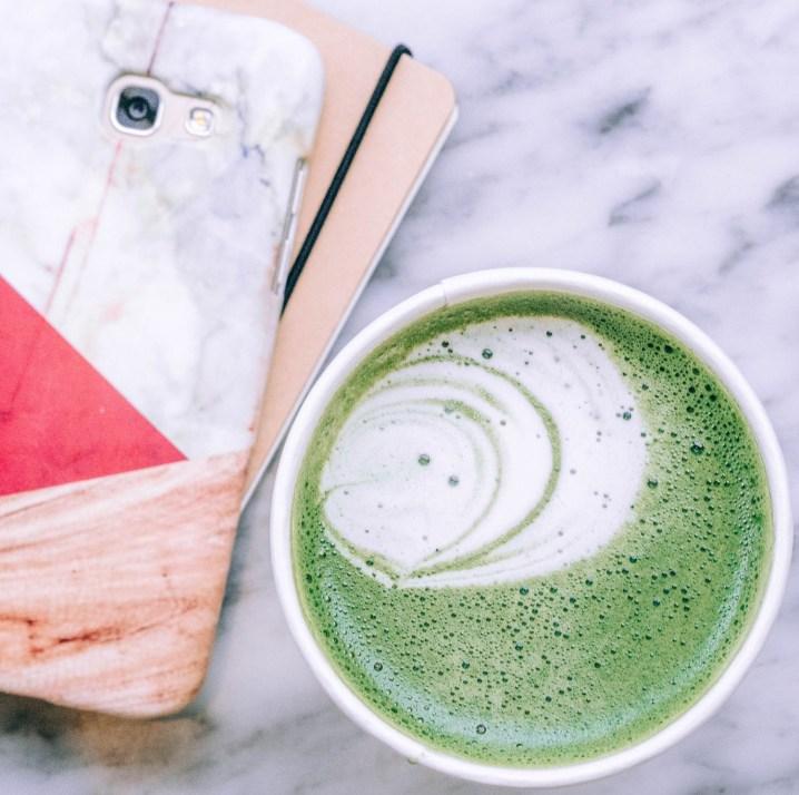 flatlay work latte matcha