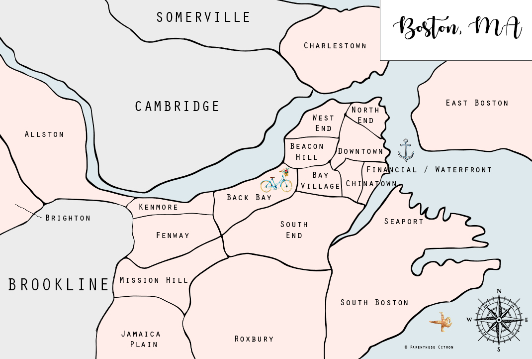carte boston avec quartiers