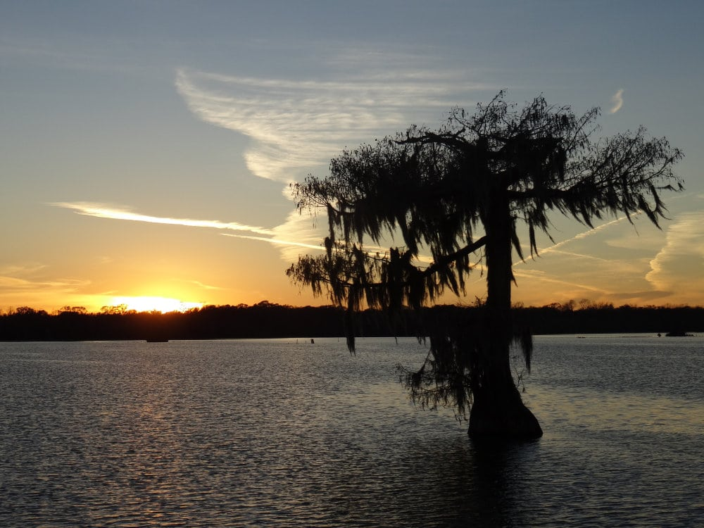 Le soliel se couche sur le Lake Martin