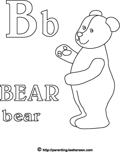 Bear Letter B Coloring Alphabet Activity Sheet