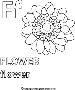 Letter F Activity Page, Flower Alphabet Coloring Sheet