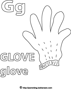 Letter G Activity Page, Glove Alphabet Coloring Sheet