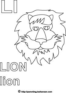 Lion Letter L Alphabet Coloring Page