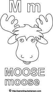 Moose Alphabet Letter M Coloring Page