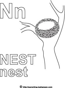 Nest Alphabet Letter N Coloring Page