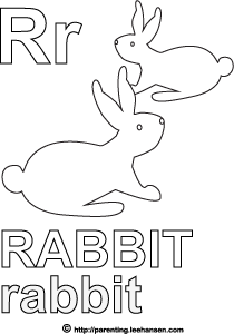 Letter R Activity Page, Rabbits Alphabet Coloring Sheet