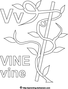 Letter V Activity Page, Vine Alphabet Coloring Sheet