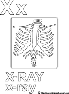 Letter X Alphabet Coloring Page X-ray Printable Sheet