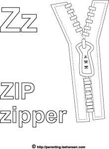 Letter Z Alphabet Coloring Activity, Zip Zipper