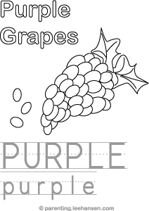 Purple Color, Trace, and Read Activity Sheet