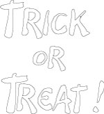 Trick or Treat Bubble Letters Coloring Sheet