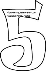 Number 5 Coloring Page Bubble Letters