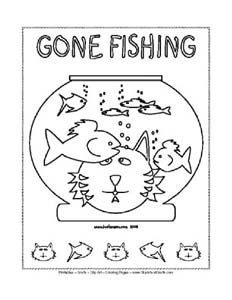 Funny Cat and Fish Coloring Poster, Printable Sheet