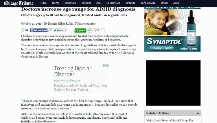 Doctors lower age for treating ADHD in kids   Chicago Tribune
