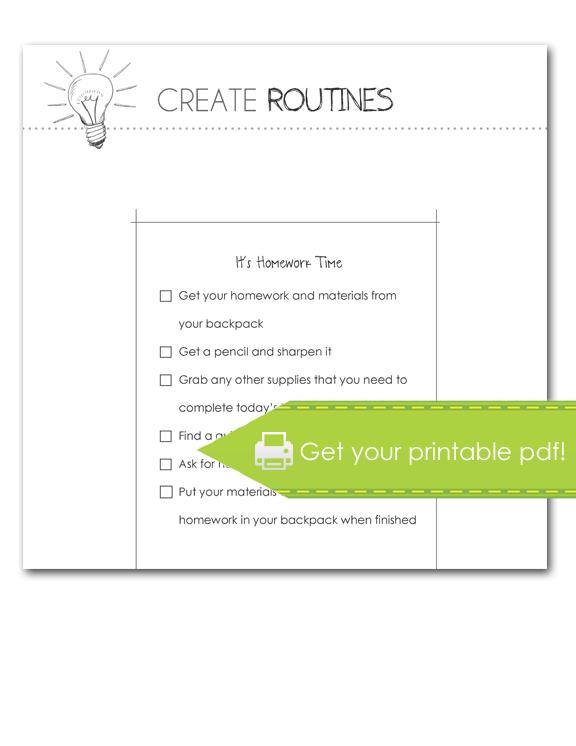 Create Routines: Homework Checklist