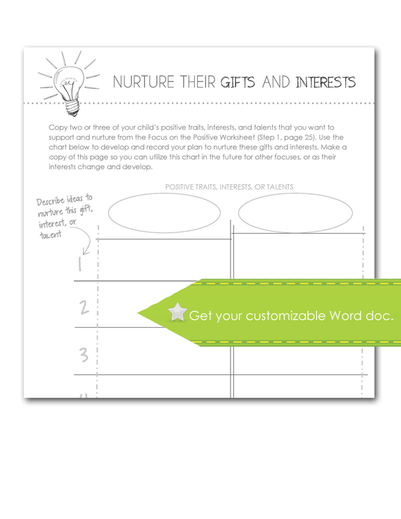 Nurture Gifts and Interests Worksheet, Customize