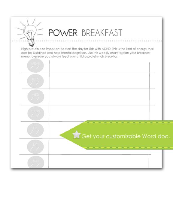 Power Breakfast, Customizable