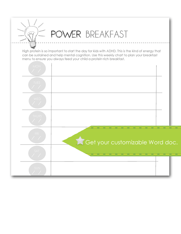 Power Breakfast, Customizable