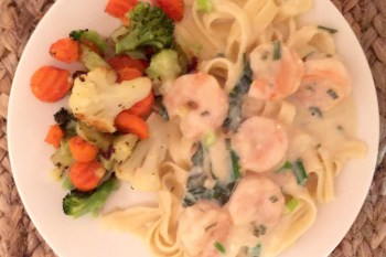 Quick  and Easy Healthy Shrimp Alfredo Herb Fettucine Sauce with Clean Eating Ingredients
