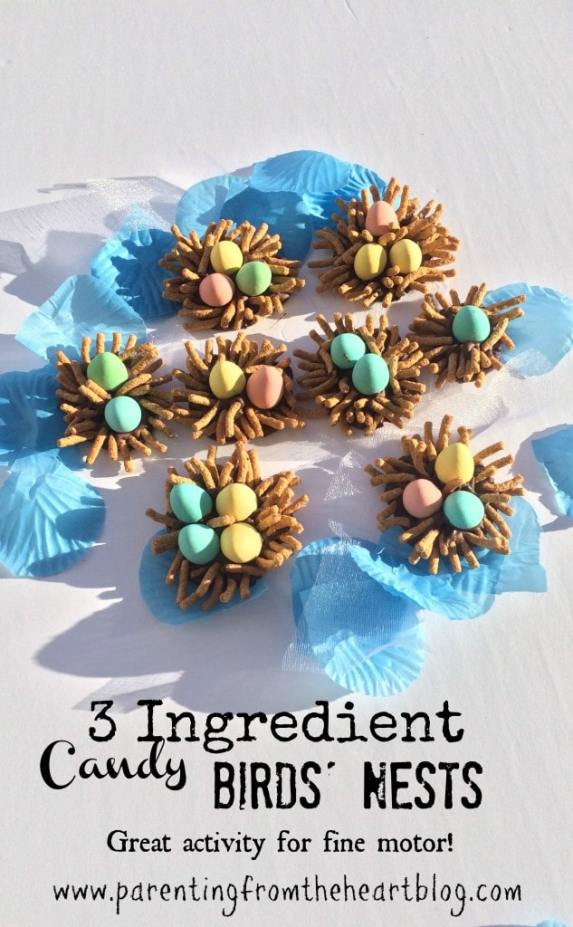 These 3 Ingredient Candy Birds' Nests are very simple to make with young kids and offer great fine motor practice.