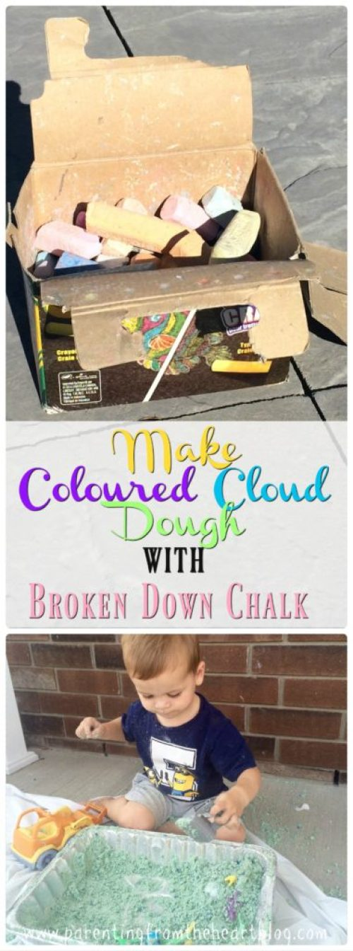 Upcycle your broken down box of street chalk with this easy coloured cloud dough recipe. It only requires 3 ingredients, is super simple to make and a great way for toddlers, preschoolers, and any kid to engage in sensory play. Kids activities, play-based learning