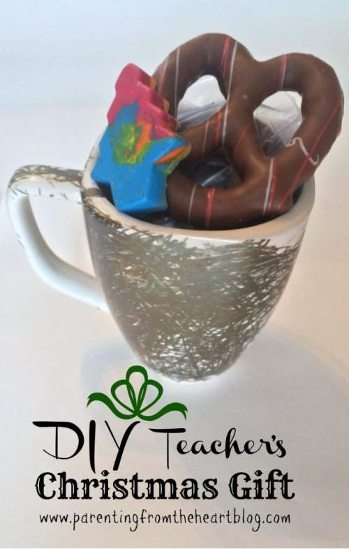 Have your children partake in making their teachers' Christmas gift this year! Make chocolate covered pretzels, chocolate Santa hats, DIY crayons, Sharpie mugs they coloured themselves and more! Budget-friendly, easy DIY Christmas gifts for teachers or family. Kid-friendly!