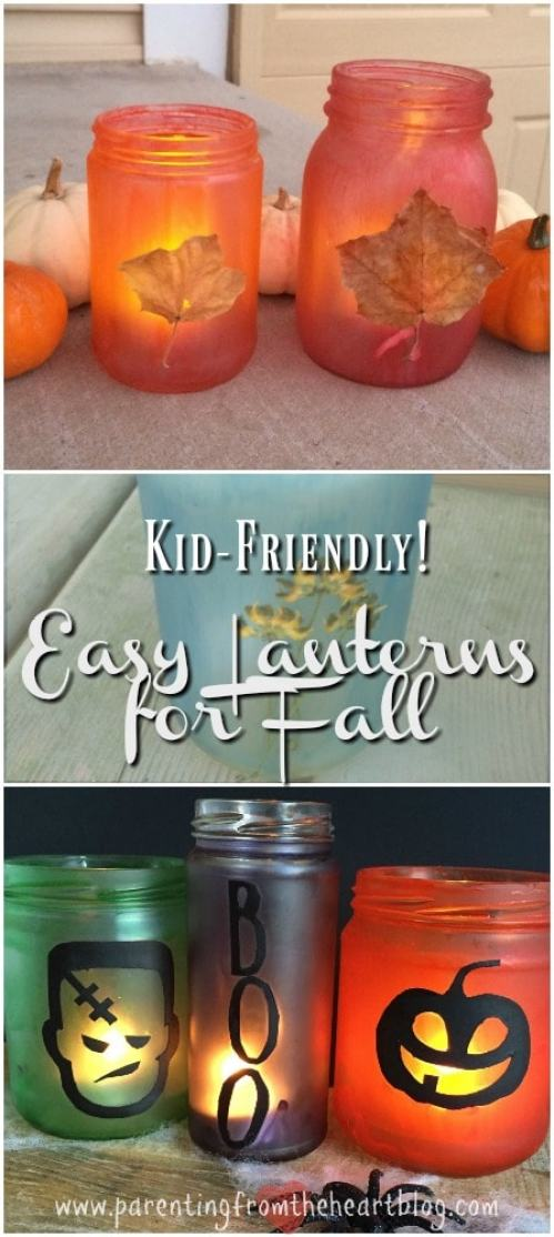 These DIY Fall Lanterns make for incredibly easy fall decor. Your kids can make them with minimal or no help, and they turn out beautifully. Be sure to click through to see other examples, kid-friendly, kids activities, simple budget ideas, fall decorations