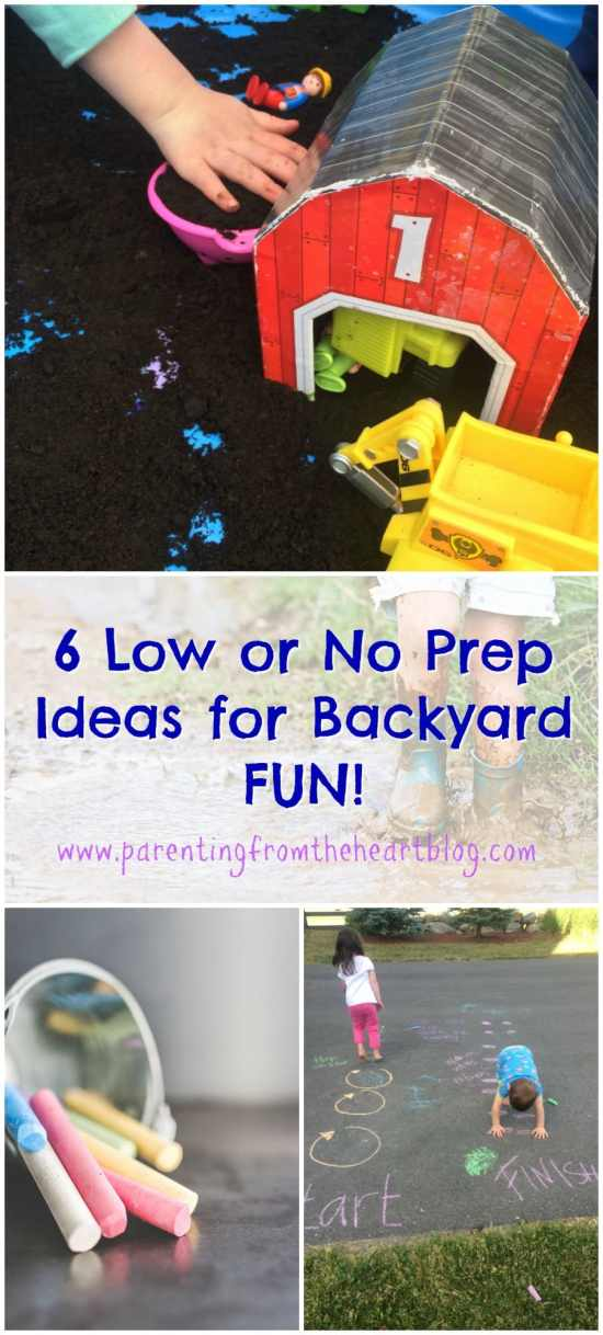These low or no prep backyard activities use household items, are great for toddlers, preschoolers, and kindergarteners. Great for play-based learning!