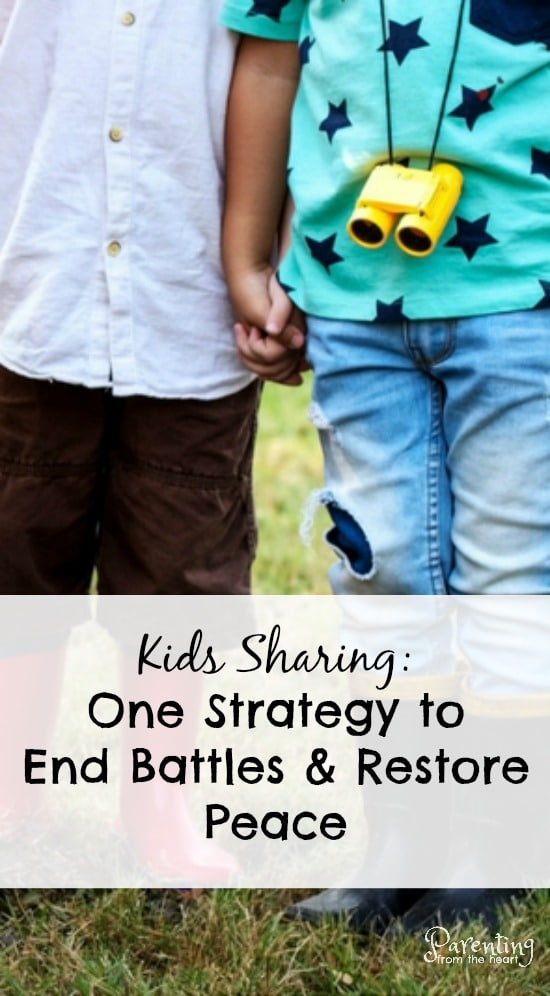 Kids sharing. When battles over toys happen, here is a strategy that will restore peace and end power struggles. Also find out what research says about why kids struggle to share so much and why you shouldn't force your child to share.