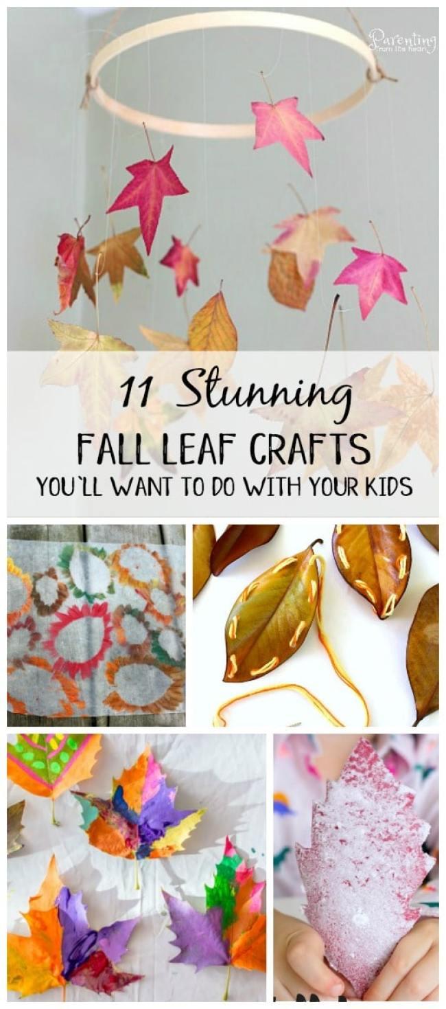Gorgeous Fall Crafts for kids using leaves #simplekidsactivities #sensoryplay #finemotorskills #kidsactivities #playbasedlearning #fallcraftsforkids