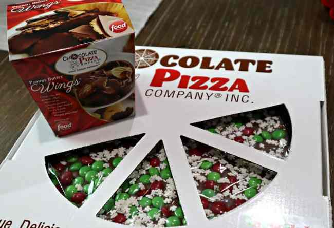 We are having pizza and wings for dessert with Chocolate Pizza Company