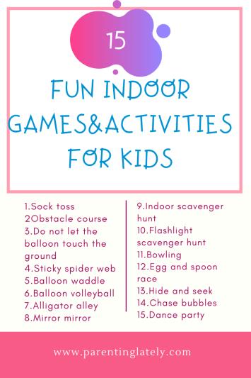 15 energy bursting indoor activities for kids /parentinglately.com