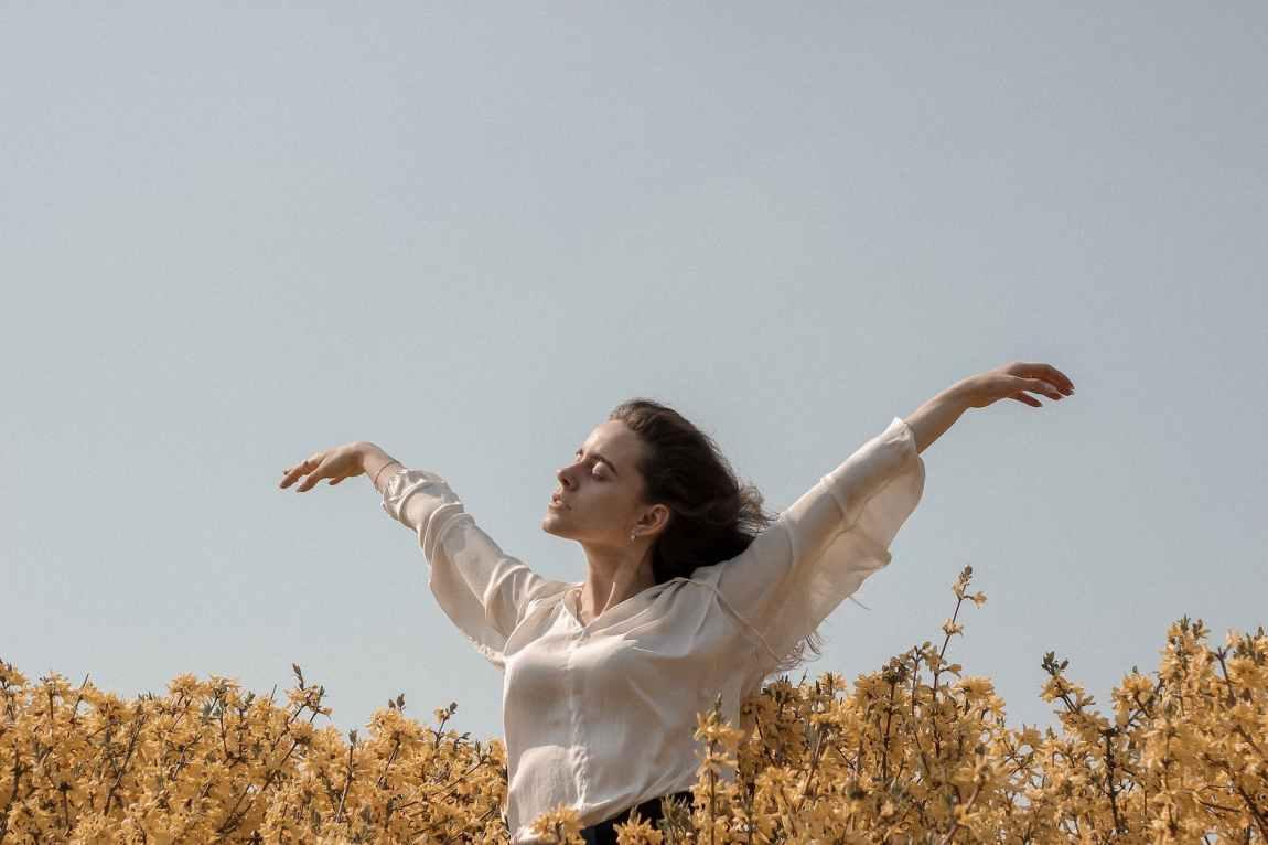 woman on a flower field