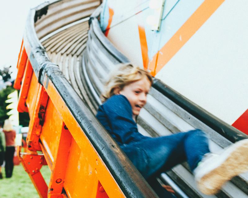 Boy on slide, E-free days