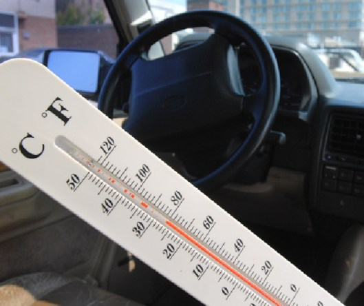 It was hot enough inside this SUV parked out in the sun that it broke this thermometer.   (Marschka)