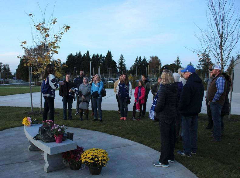 Attendees gather to share stories and memories of Sarah Yarborough at Federal Way High School on Friday, Oct. 11. Olivia Sullivan/staff photo