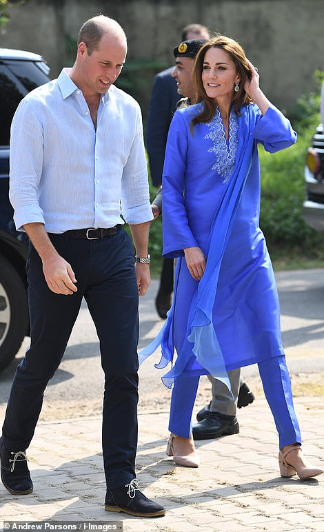 The couple are visiting the Islamabad Model College for Girls in the capital, touring classrooms and posing for a group picture with some of the young students, ranging from kindergarten age students to sixth formers