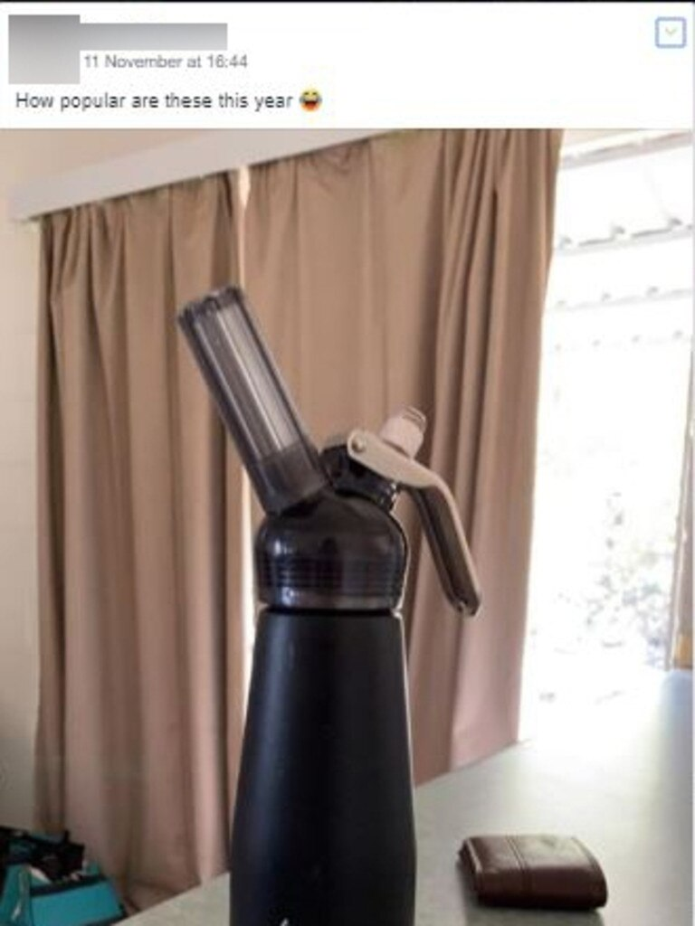 There was at least one post on a Schoolies Facebook group where nangs were seemingly being discussed. Pictured is a cream dispenser, commonly used to release the gas from the canisters.
