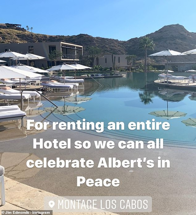 Fun in the sun: Jim's social media cleanup came as he's been partying at the Montage Los Cabos resort in Cabo San Lucas, Mexico, to celebrate his friend Albert Pujols' birthday