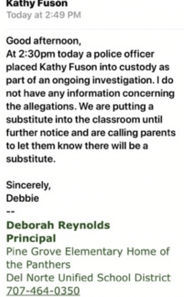 Screenshot of a letter sent out by the Principal of Pine Grove Elementary